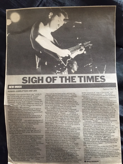 New Order - PC&L Melody Maker review