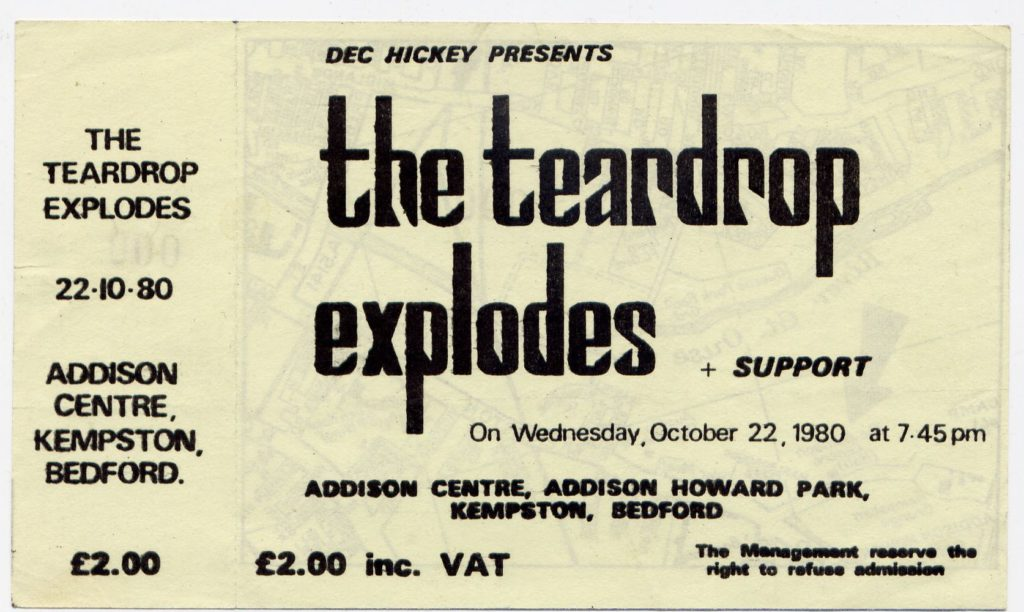 Teardrop Explodes - unused ticket, 22.10.80