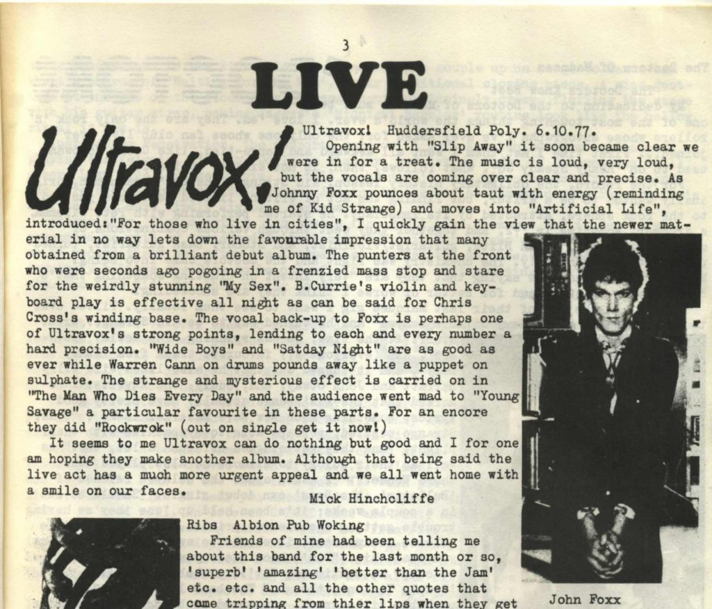 Ultravox live review. Summer Salt fanzine #2, 1977