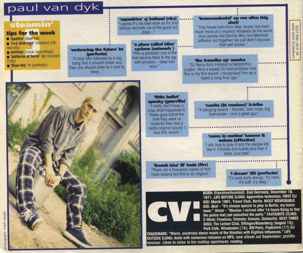 Paul Van Dyk article, 17.8.96