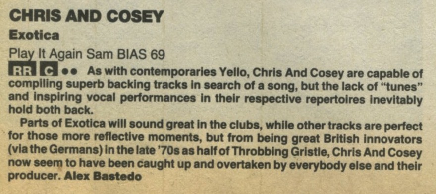 Chris and Cosey - Underground, #8, Nov 87