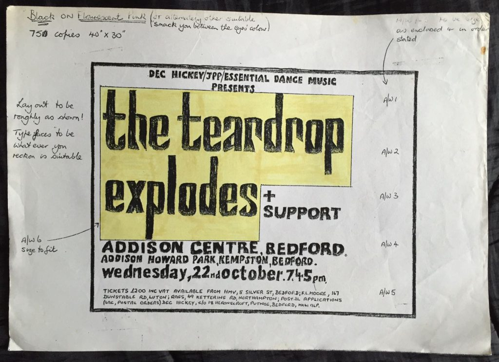 Teardrop Explodes Bedford poster, working version