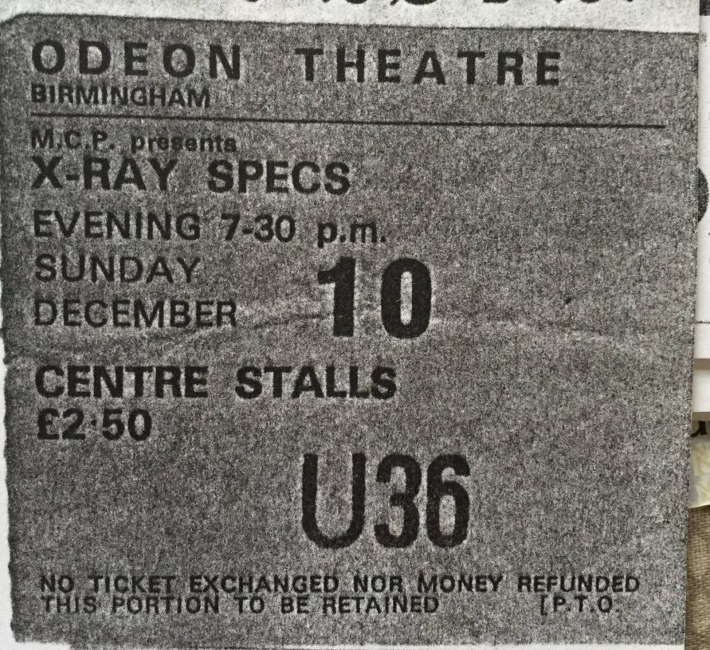 X-Ray Spex Birmingham Odeon ticket 10.12.78