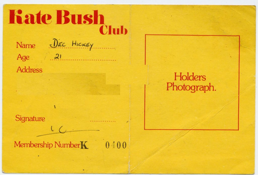 Kate Bush - membership card no 400 - 41 Rooms - show 22
