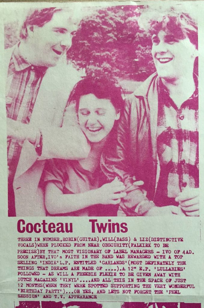 Cocteau Twins, Pleasantly Surprised's An Hour Of Eloquent Sounds v/a cassette booklet, 1982 - 41 Rooms - show 66