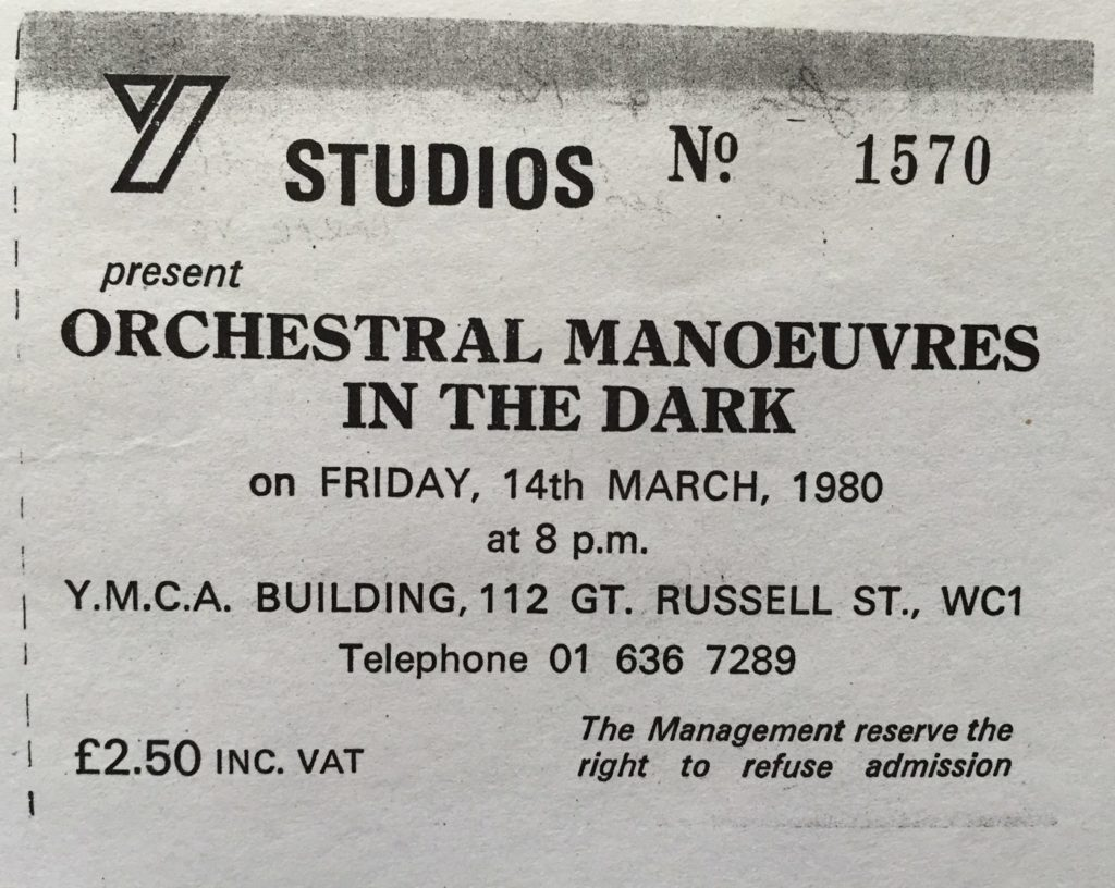 OMD YMCA 14.3.80 ticket photo copy