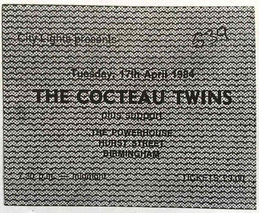 Cocteau Twins Birmingham Powerhouse 17.4.84 ticket, photo copy - 41 Rooms - show 75