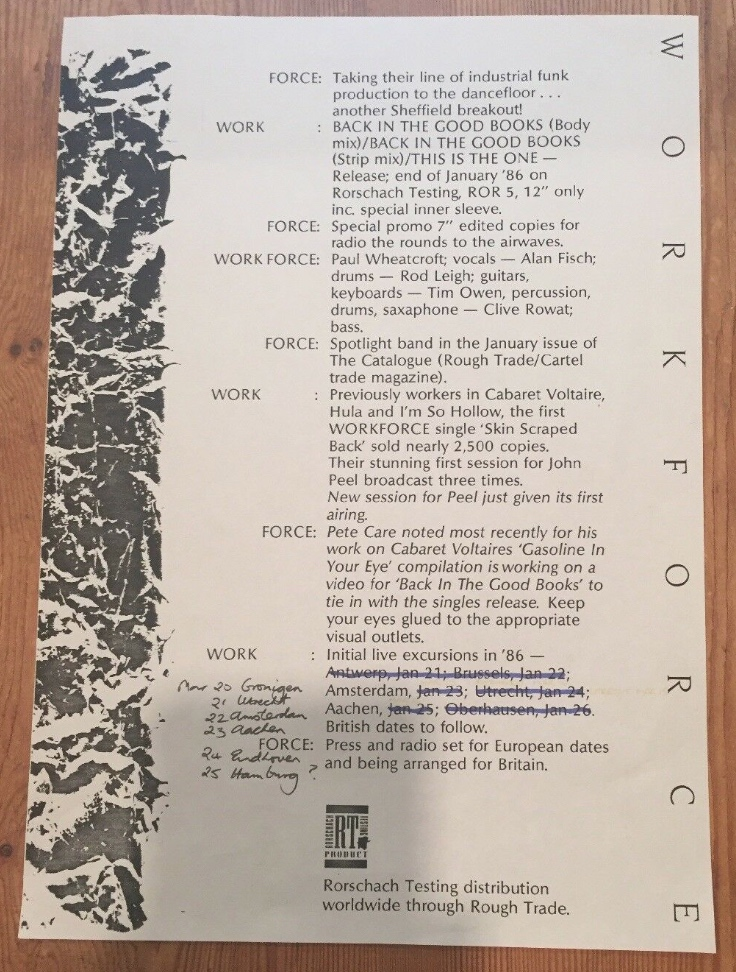 Workforce - Back In The Good Books promo sheet - 41 Rooms - show 75