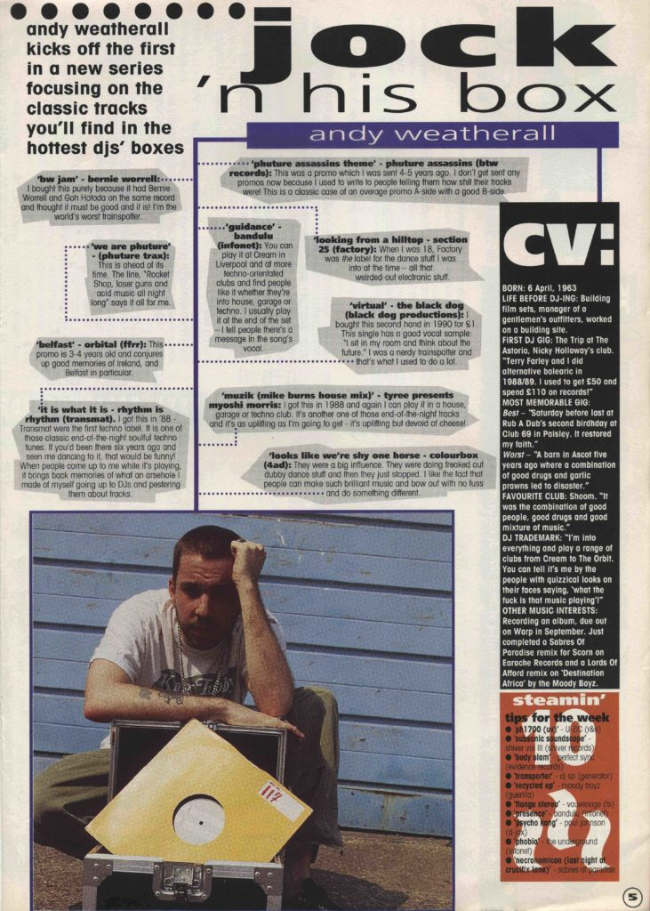 Andy Weatherall Record Mirror feature - 23.7.94 - 41 Rooms - show 78