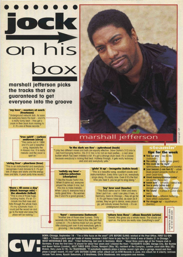 Marshall Jefferson Record Mirror article, 18.5.96 - 41 Rooms - show 78