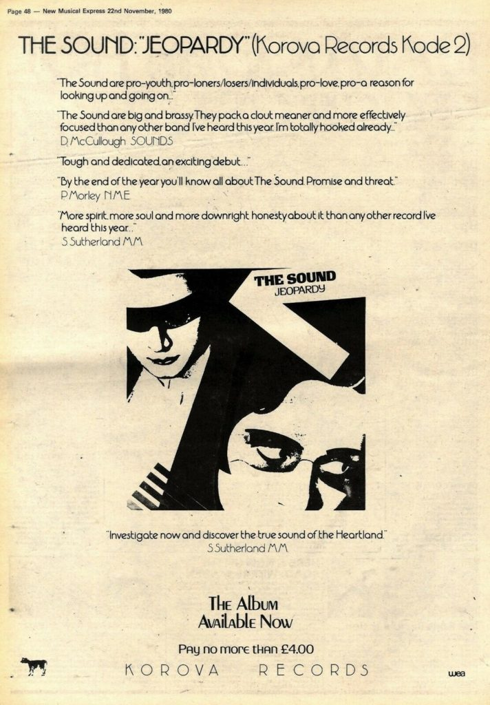 The Sound - Jeopardy NME ad, 11.11.80 - 41 Rooms - show 82
