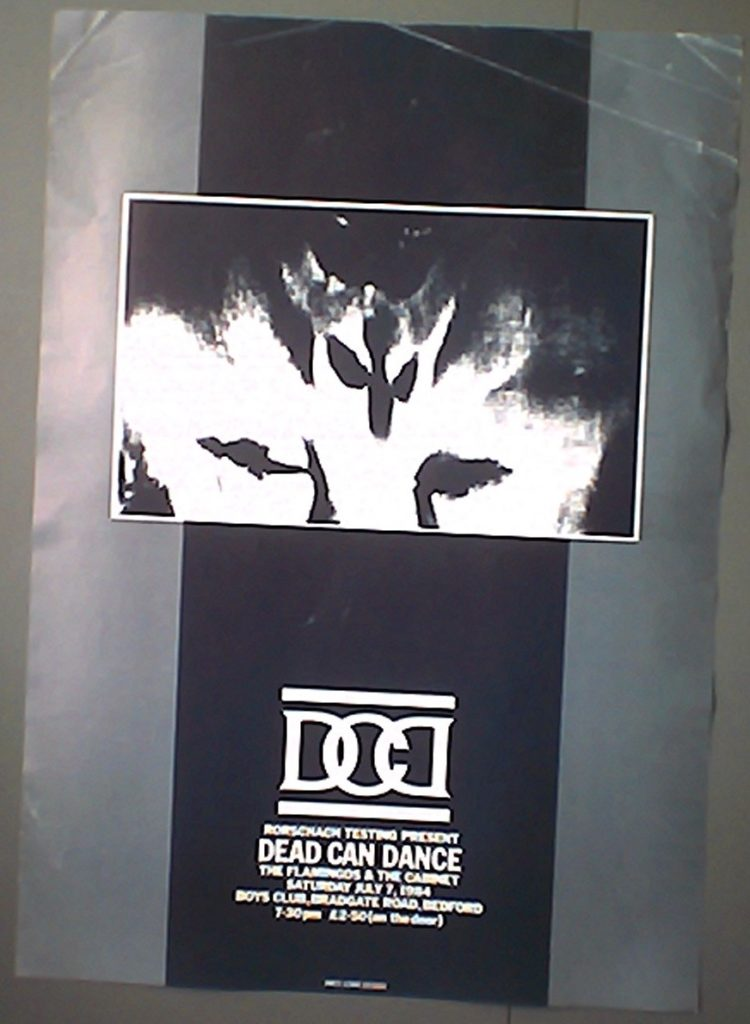 Dead Can Dance - Bedford Boys Club 7.7.84 poster - 41 Rooms - show 84