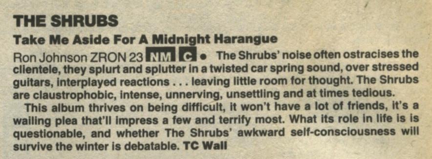 The Shrubs - Underground, #6, Sept 87 - 41 Rooms - show 84