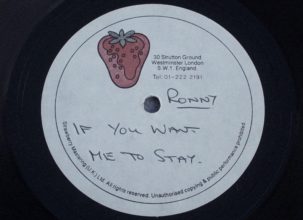 Ronny - If You Want Me To Stay acetate - 41 Rooms - show 89