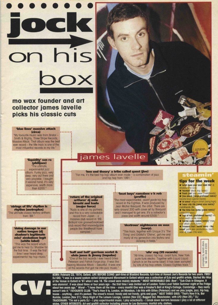 James Lavelle article, Record Mirror, 26.11.94 - 41 Rooms - show 90